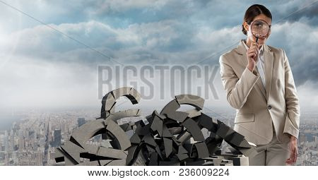 Broken concrete stone with money euro symbol and businesswoman in cityscape