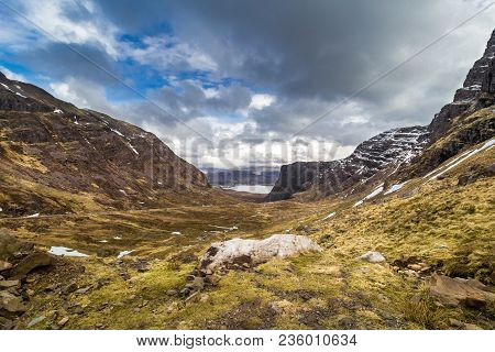 Bealach Na Bà From Applecross. Winding, Single Track Road Through The Mountains Of The Applecross Pe