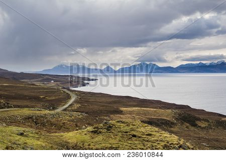 Rural Single Track Road On The Applecross Peninsular On The West Coast Of Scotland