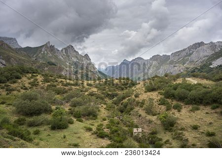 Valley Of The River Rio Del Valle, In Somiedo Nature Reserve. It Is Located In The Central Area Of T