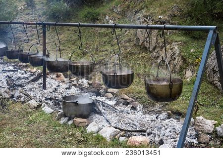 Lamb Stew In A Popular Festival In Somiedo Nature Reserve, Principality Of Asturias, Spain