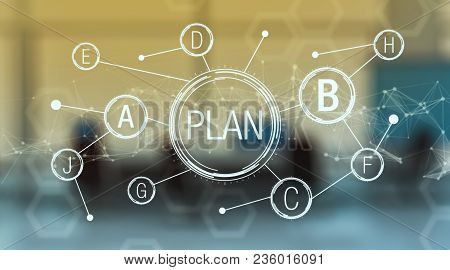 Futuristic Interface For The Concept Of Plan B, Different Strategy And Solution, Office Interior On