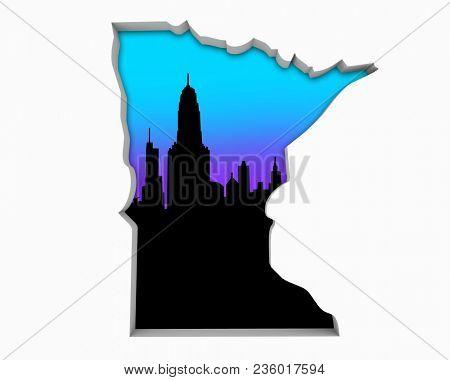 Minnesota MN Skyline City Metropolitan Area Nightlife 3d Illustration