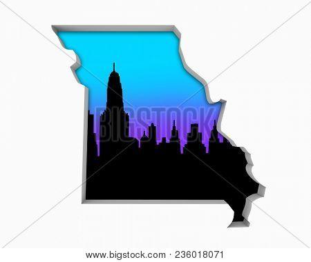 Missouri MO Skyline City Metropolitan Area Nightlife 3d Illustration
