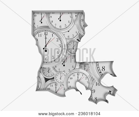 Louisiana LA Clock Time Passing Forward Future 3d Illustration