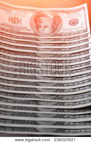 Hundred Dollar Bills Close-up. Concept Of Business And Money Can Be Used As Background. Portrait Of
