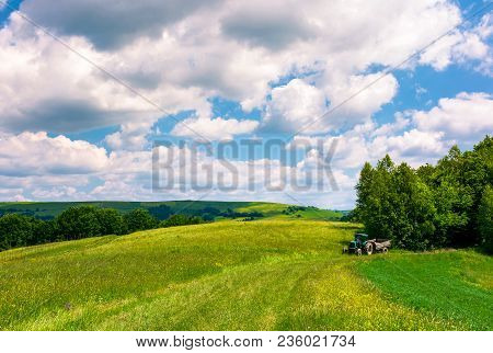 Agricultural Fields On Hills. Beautiful Summer Landscape