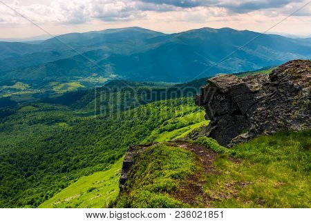 Cliff Over The Hill In High Mountains. Beautiful Summer Landscape And Travel Concept