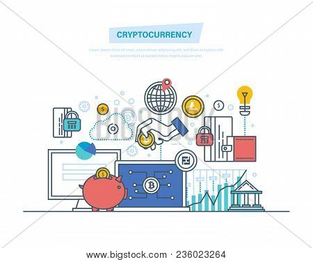 Crypto Currency, Cryptography, Blockchain, Payment Currency For Performing Transactions. Money Turno