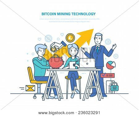 Bitcoin mining technology, extraction and receipt bitcoins, e-currency, growth crypto-currency market, online depository of electronic money, cloud-mining service. Illustration thin line design. poster