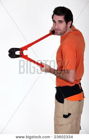 a man with cutting pliers
