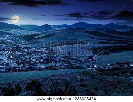 Stara Lubovna Town In Slovakia At Night. Lovely Summer Landscape In Summer