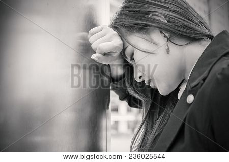 Portrait Stressed Sad Young Woman Outdoors. City Urban Life Style Stress, Black And White