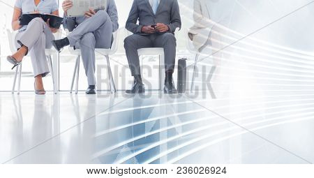 Business people legs and white interface transition