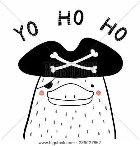 Hand Drawn Portrait Of A Cute Funny Pirate Platypus In Tricorne Hat, Eye Patch. Isolated Objects On