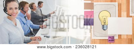 Customer service assistants with headsets with bright office background