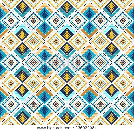 Aztec Style Seamless Geometry Pattern With Tribal Ornament. Ornamental Ethnic Background Collection.