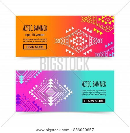 Bright Colorful Horizontal Gradient Banner Design Temlpate Set With Tribal Aztec Style Ornament. Eth