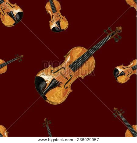 Seamless Pattern, Vector Ilustration, Violin On Dark Red Background, Music Backdrop.