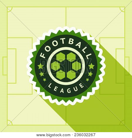 Football Green Badge, Vector Illustration 10 Eps, On A Green Background