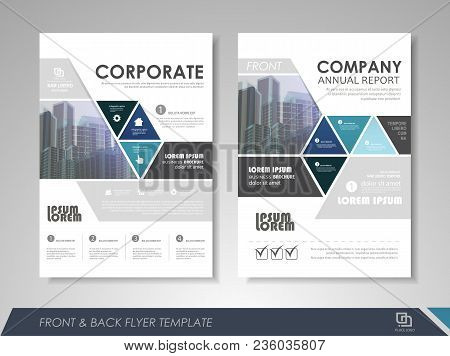 Blue Annual Report Brochure Flyer Design Template. Leaflet Cover Presentation Abstract Background Fo