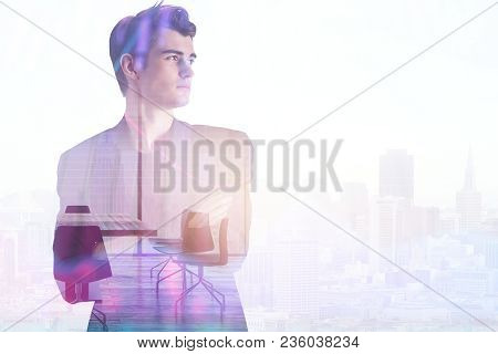 Businessman On Abstract Office City Background With Copy Space. Employment And Success Concept. Doub