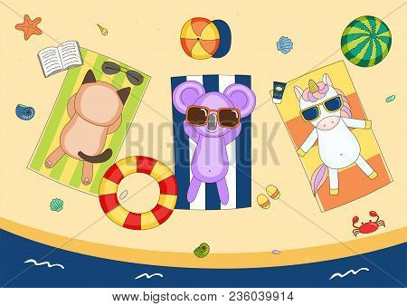 Hand Drawn Vector Illustration Of A Cute Unicorn, Cat And Koala In Sunglasses On The Beach, Lying On