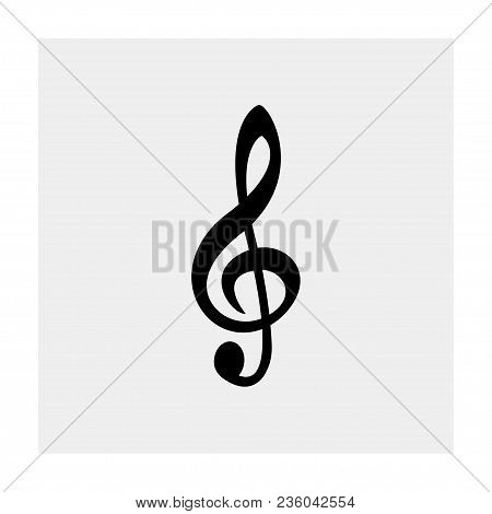 Treble Clef  On Gray Background . Vector Illustration