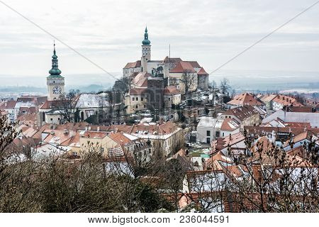 Mikulov Castle, Southern Moravia, Czech Republic. Travel Destination. Architectural Scene.