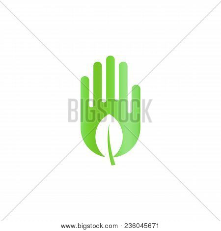 Green Leaf In Hand, Harvest Abstract Icon, Ecology Care Symbol, Harvesting Silhouette On White Backg