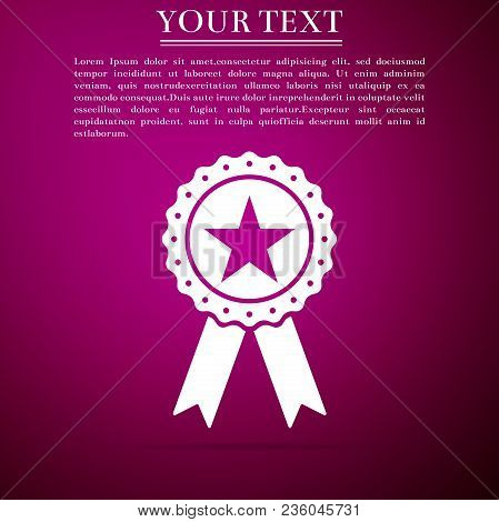 Award Medal With Star And Ribbon Icon Isolated On Purple Background. Winner Achievement Sign. Champi