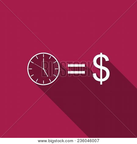 Time Is Money Sign Icon Isolated With Long Shadow. Money Is Time. Effective Time Management. Convert