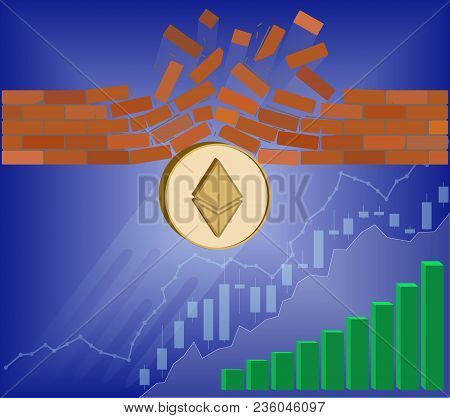 Ethereum Coin Breaks Through The Wall Resistance With Growth Chart On A Blue Background , The Price