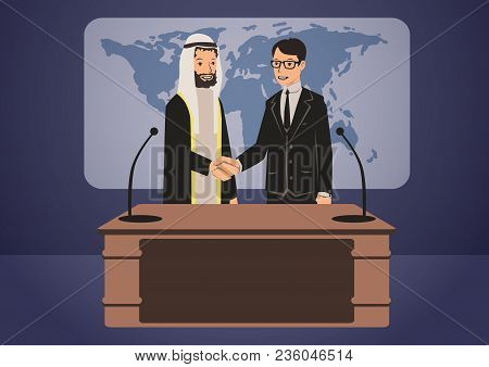 Arab And European Politicians Or Businessmen Shaking Hands, Standing At The Podium. Government Summi