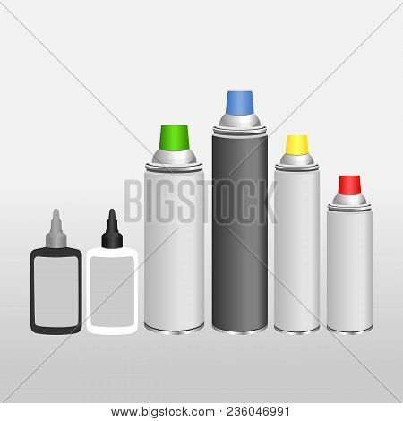 Blank Aluminium Spray Can And Oil For Chain Template