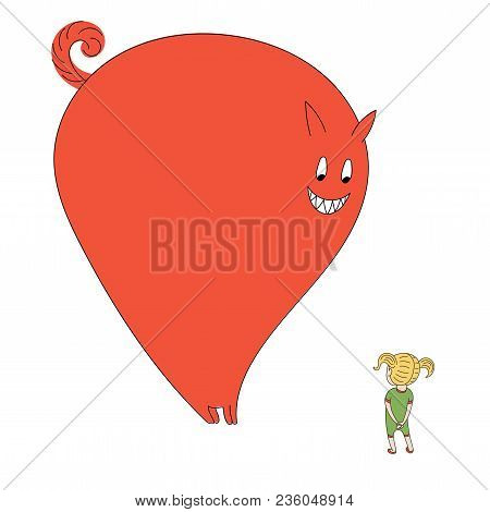 Hand Drawn Vector Illustration Of A Little Girl With Pig Tails Meeting A Very Big Smiling Monster. I