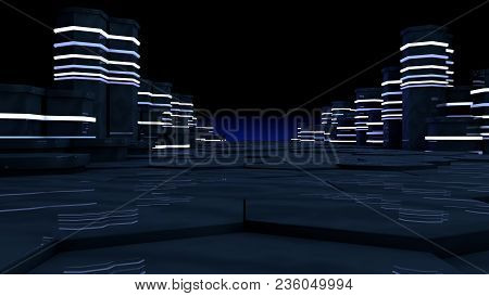 Futuristic concept of server room in datacenter. Big data storage, server racks with neon lights on black background. Technology and connection concept. Abstract 3d rendering illustration poster