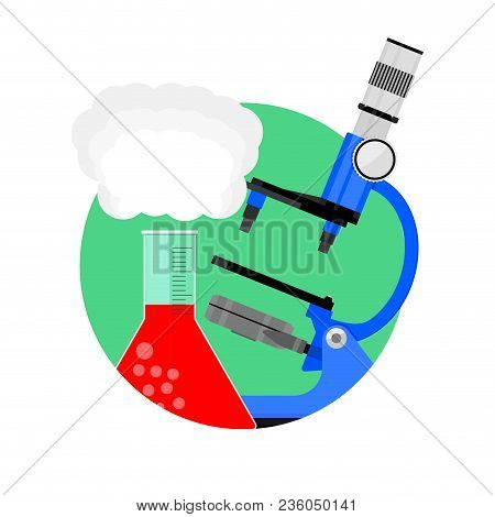Scientific Experiment Icon. Vector Scientific Test With Toxic Substance, Development Pharmacy And Bi