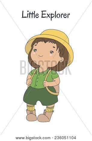 Hand Drawn Vector Illustration Of A Cute Plump Little Girl In A Pith Helmet, Khaki Shorts, With A Kn