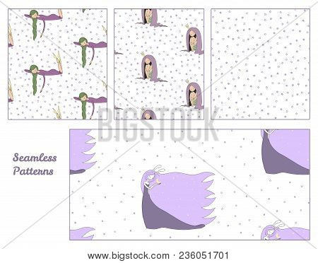 Set Of Hand Drawn Cute Seamless Vector Patterns With Sleeping Girls: In A Night Gown, Princess, Moon