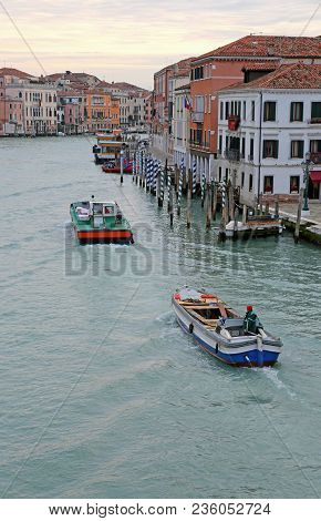 Venice, Italy - February 5, 2018: Grand Canal Also Called Canal Grande In Italian Language And More