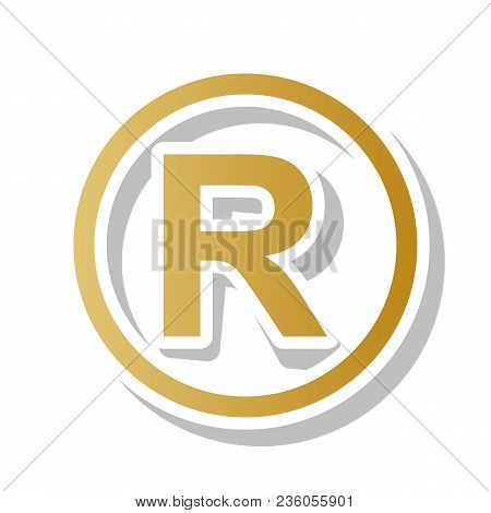 Registered Trademark Sign. Vector. Golden Gradient Icon With White Contour And Rotated Gray Shadow A