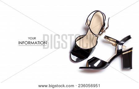 Black Sandals Shoes Pattern On White Background Isolation