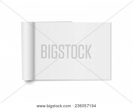Vector Mock Up Of Realistic Magazine With Curled Paperback Isolated. Opened Horizontal Booklet, Broc