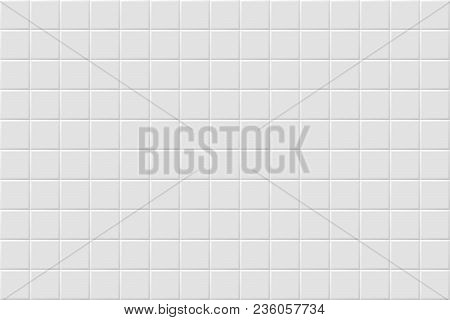 Vector White Modern Abstract Background With Light Gray Mat Square Tiles Pattern. Seamless Mosaic Te