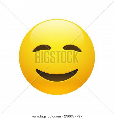 Vector Emoji Yellow Smiley Face With Closed Eyes And Mouth On White Background. Funny Cartoon Emoji