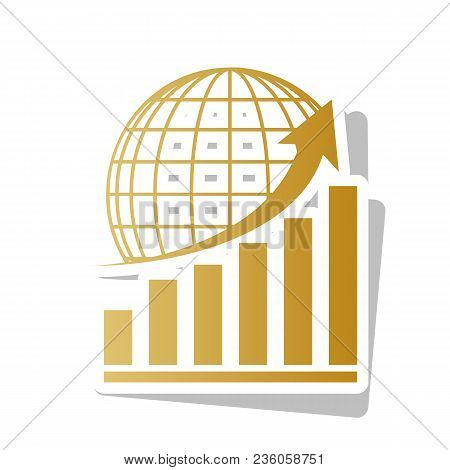 Growing Graph With Earth. Vector. Golden Gradient Icon With White Contour And Rotated Gray Shadow At
