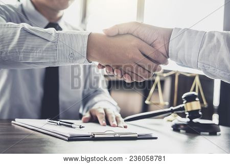 Handshake After Good Cooperation, Businessman Handshake Male Lawyer After Discussing Good Deal Of Tr