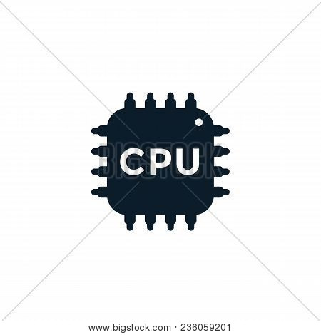 Cpu Icon, Electronic Circuit, Processor, Chipset On White, Eps 10 File, Easy To Edit