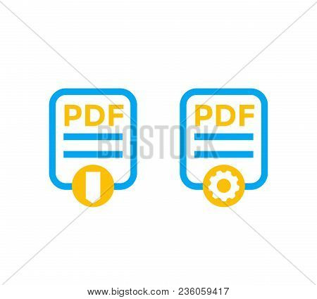 Pdf File Icons Isolated On White, Eps 10 File, Easy To Edit